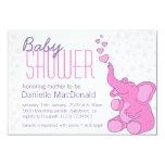 Cute Elephant baby shower pretty pink invitation