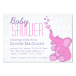 Cute Elephant baby shower pretty pink invitation