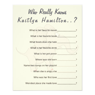 Cute Elephant   Baby Shower Question Game Humor Flyer