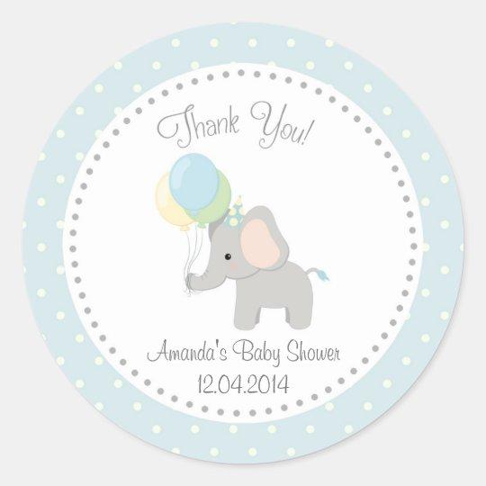 Cute Elephant Baby Shower Sticker (Blue)