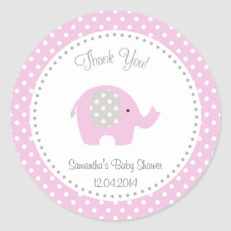 Cute Elephant Baby Shower Sticker Pink