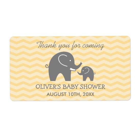 Cute elephant baby shower water bottle stickers