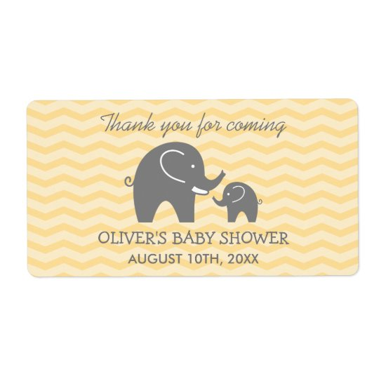 Cute elephant baby shower water bottle stickers shipping