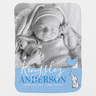 Cute Elephant Blue Baby Name, Birth Stats | Photo Baby Blanket