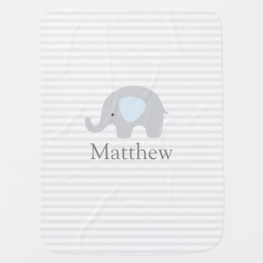 Cute Elephant Blue Grey Striped Boy Baby Blanket