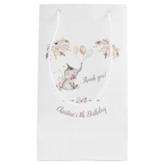 Cute Elephant Boho Floral Custom Year Birthday Small Gift Bag