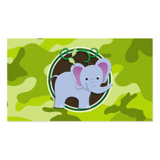 Cute Elephant bright green camo camouflage Business Cards
