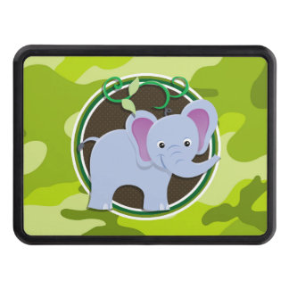 Cute Elephant; bright green camo, camouflage Tow Hitch Covers