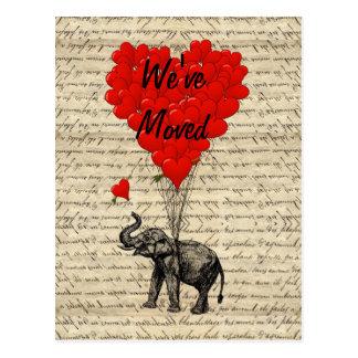Cute elephant change of address card postcard