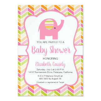 Cute Elephant, Chevron  Baby Shower Invitation