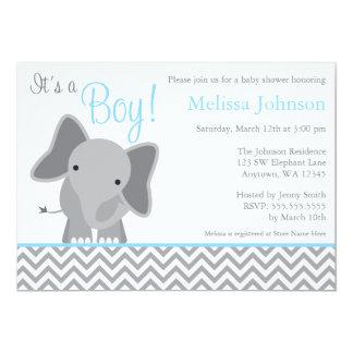 Cute Elephant Chevron Light Blue Baby Shower 13 Cm X 18 Cm Invitation Card