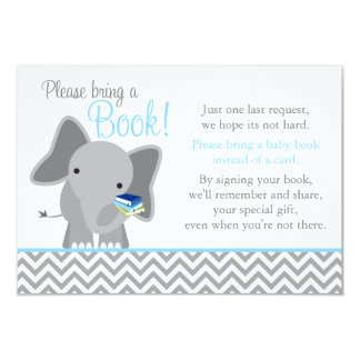 Cute Elephant Chevron Light Blue Baby Shower Book Card