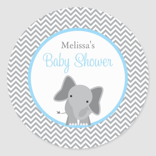 Cute Elephant Chevron Light Blue Baby Shower Classic