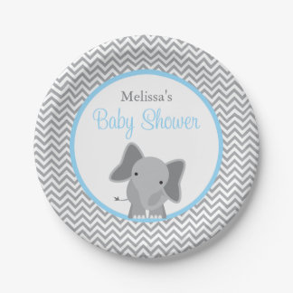 Cute Elephant Chevron Light Blue Baby Shower Paper Plate