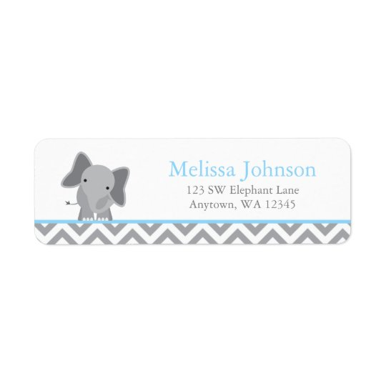 Cute Elephant Chevron Light Blue Return Address Label
