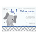 Cute Elephant Chevron Navy Blue Baby Shower 13 Cm X 18 Cm Invitation Card