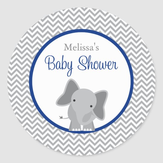 Cute Elephant Chevron Navy Blue Baby Shower Classic