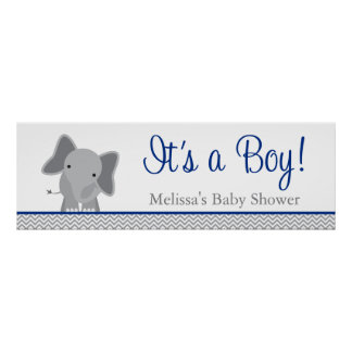 Cute Elephant Chevron Navy Blue Baby Shower Poster
