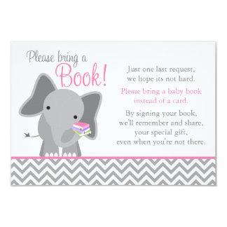 Cute Elephant Chevron Pink Girl Baby Shower Book 9 Cm X 13 Cm Invitation Card