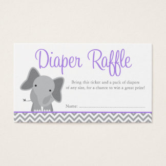Cute Elephant Chevron Purple Diaper Raffle Ticket