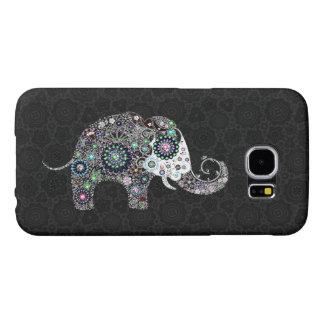 Cute Elephant Diamonds & Flowers Samsung Galaxy S6 Cases