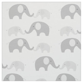 Cute Elephant Fabric Grey & White