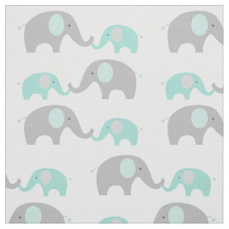 Cute Elephant Fabric Mint Green & Grey