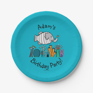 Cute Elephant Fish Scene with Coral 7 Inch Paper Plate