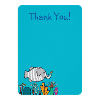 Cute Elephant Fish Scene with Coral Card