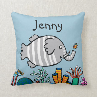 Cute Elephant Fish Scene with Coral Cushion