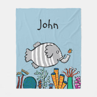Cute Elephant Fish Scene with Coral Fleece Blanket