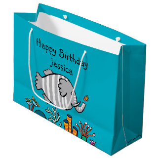 Cute Elephant Fish Scene with Coral Large Gift Bag