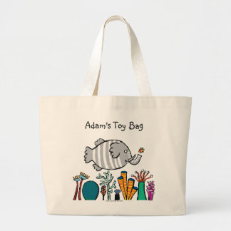 Cute Elephant Fish Scene with Coral Large Tote Bag