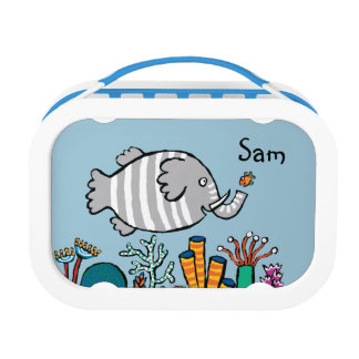 Cute Elephant Fish Scene with Coral Lunch Box