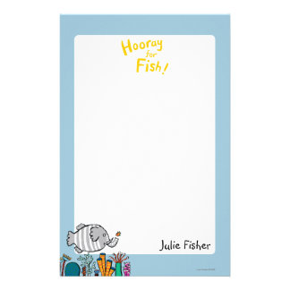 Cute Elephant Fish Scene with Coral Stationery