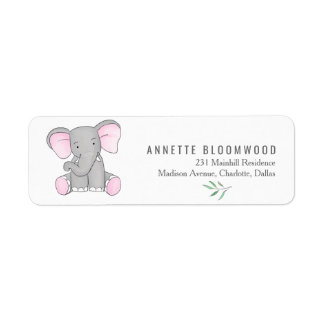 Cute Elephant Forest Leaves Baby Shower Return Address Label