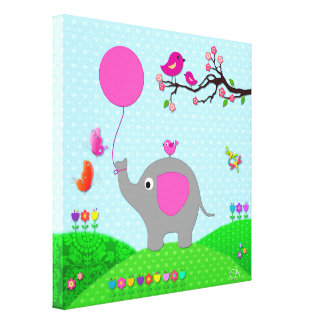 Cute Elephant Gallery Wrapped Canvas