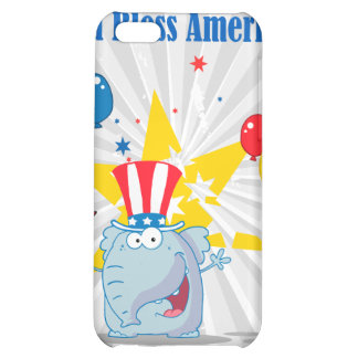 cute elephant god bless america patriotic cartoon case for iPhone 5C