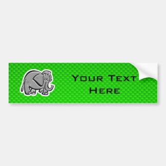 Cute Elephant; Green Bumper Sticker