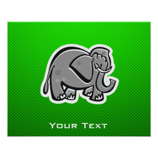 Cute Elephant; Green Posters
