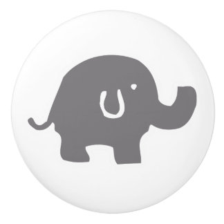 Cute Elephant Grey And White Door Knob