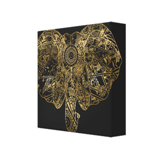Cute Elephant hand drawn Henna floral Canvas Print