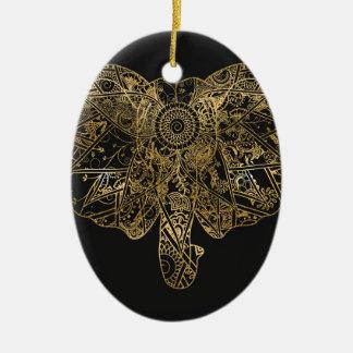 Cute Elephant hand drawn Henna floral Ceramic Oval Decoration