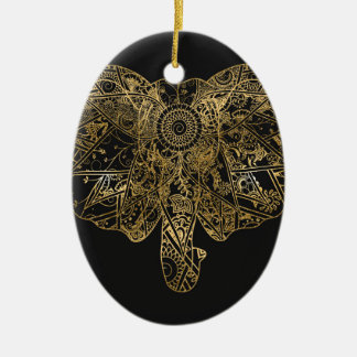 Cute Elephant hand drawn Henna floral Christmas Ornament