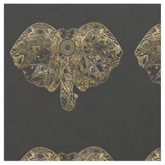 Cute Elephant hand drawn Henna floral Fabric