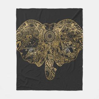 Cute Elephant hand drawn Henna floral Fleece Blanket