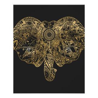 Cute Elephant hand drawn Henna floral Flyer