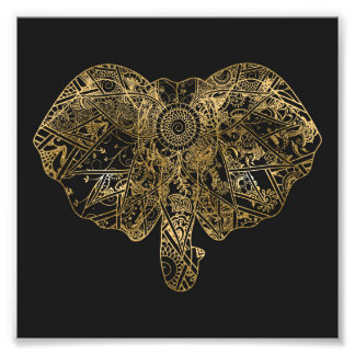Cute Elephant hand drawn Henna floral Photo Print