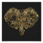Cute Elephant hand drawn Henna floral Photographic Print