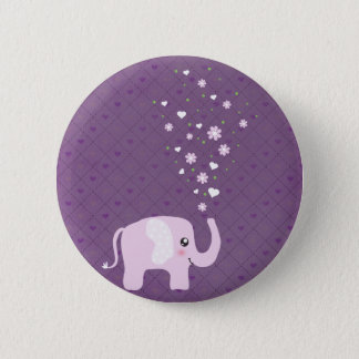 Cute elephant in girly pink & purple 6 cm round badge